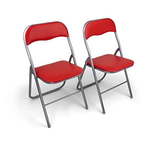 HAEST Set: 2X Klappstühle mit Metallrahmen und Kunstlederbezug, Silber-rot
