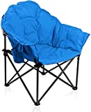 ALPHA CAMP Folding Oversized Moon Saucer Chair with Cup Holder and Carry Bag