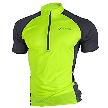 NUCKILY Sports Men s Cycling Jersey Short Sleeve Bike Bicycle Shirt Quick Dry Running Tops with 3 Rear Pockets