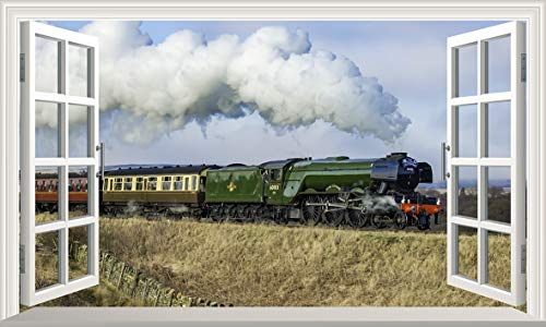 Chicbanners The Flying Scotsman Steam Train 3D V007 Magic Window Wall Sticker Self Adhesive Poster Wall Art Size 1000mm wide x 600mm deep (large)