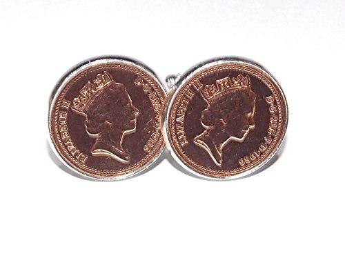 1984 31 anniversaire Motif cents 1 pièce de monnaie-One cents Boutons de manchette de 1984 pour la 31e