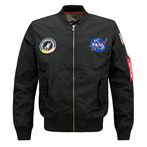 AYYSHOP NASA Bomberjacke für Männer Pullover, Air Sky Flight Jacket Hip Hop Leichte Windjacke Outwear,Schwarz,6XL