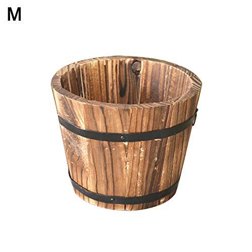 Puran Rustikales Holzfass leer Sukkulenten-Übertopf Blumentopf Container Garten Deko, a, M