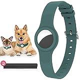 Collar de perro compatible con Apple Airtags, collares de perros con funda para Airtags, antipérdida, rastreador GPS para perros pequeños y medianos y gatos, collar de perro de silicona, verde oscuro