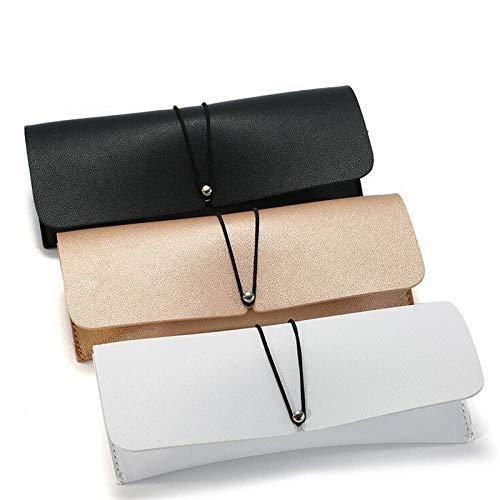 JINAN Cuero de la PU Caja de vidrios de la Cubierta Gafas de Sol de los vidrios de Las Lentes de Almacenamiento Cuadro Titular sólido Bolsa portátil Bolsa de los vidrios (Color : White)