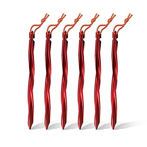 LQUIDE 6 Pcs Spiral Tent Stakes 25cm Alloy Aluminium Swirled Shape Pegs Tent with Pull Cords Tent Accessories Equipment, Red