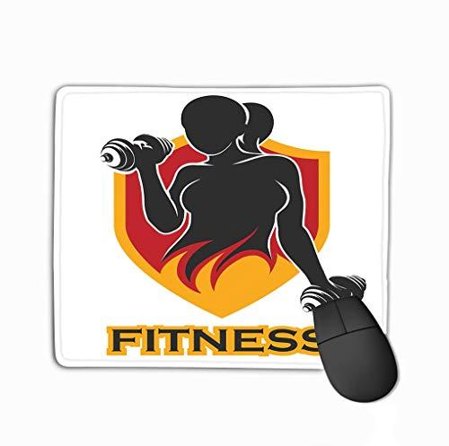 Custom Mouse Pad,11.81 x 9.84 inch uniek bedrukte muismat design fitness embleem training meisje atletische vrouwen Holding Weight silhouet sportlabel gym badge logo design