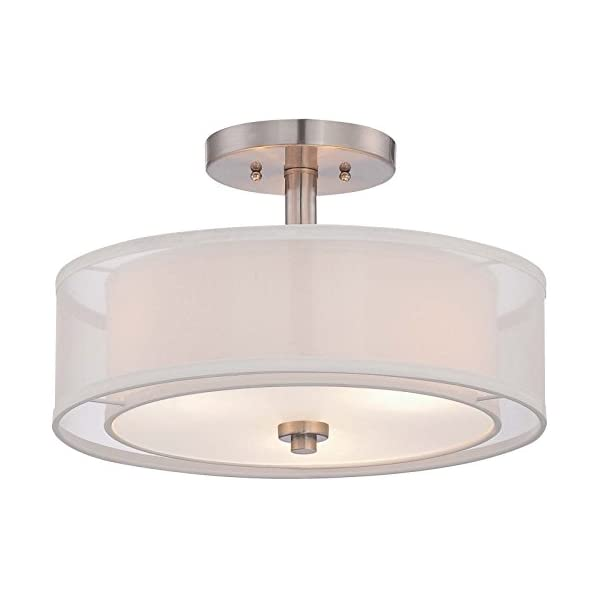 Minka Lavery Semi Flush Mount Ceiling Light 4107-84, Parsons Studio Lighting Fixture, 3 Light, Nickel