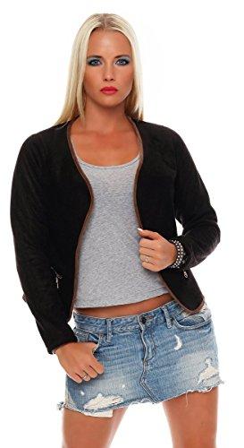 Fashion4Young 10108 Damen Leger Geschnittener Blazer Jacke mit offener Front Wildleder-Optik (M=38, Schwarz)
