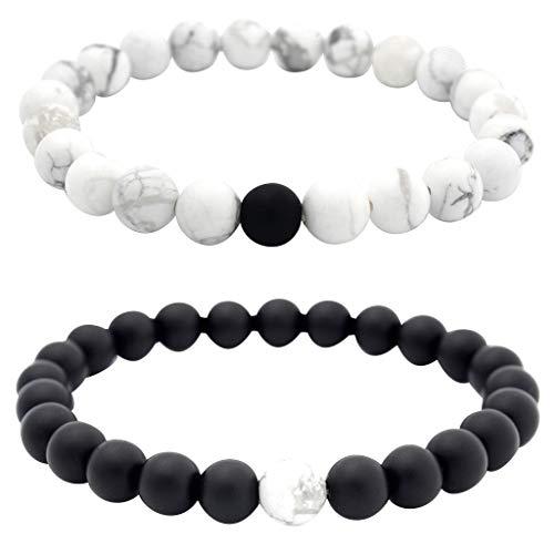 LABIUO Armband für Herren und Damen, 8 mm, Lava-Chakra-Perlen, elastisch, Naturstein, Achat