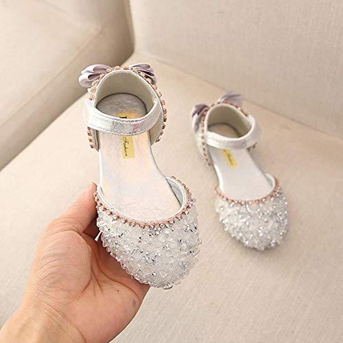 Sandalias para niñas de verano, niños, niñas, con lazo, talla L, zapatos de boda #TX4, color plateado