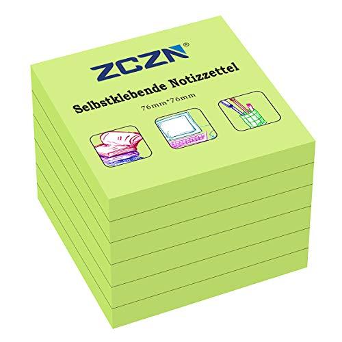ZCZN Haftnotiz Sticky Notes Selbstklebende Haftnotizzettel Notizzettel Klebezettel 6 Blöcke, 80 Blatt, 76 x 76 mm, grün