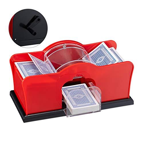 Relaxdays Kartenmischmaschine, 2 Decks, Kurbel, manuelles Mischgerät für Spielkarten bis 91 mm, Kunststoff, rot/schwarz