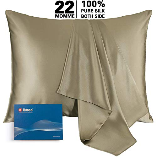 J JIMOO Natural Silk Pillowcase,for Hair and Skin with Hidden Zipper, 22 Momme 600 Thread Count 100% Mulberry Silk (Queen 20''×30'', Champagne, 1 Piece)