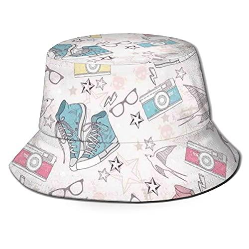 Gorra de pescador unisex, diseño de grunge juvenil con zapatillas de deporte, cámaras fotográficas, gafas de pájaros y estrellas, sombrero de playa de viaje A1