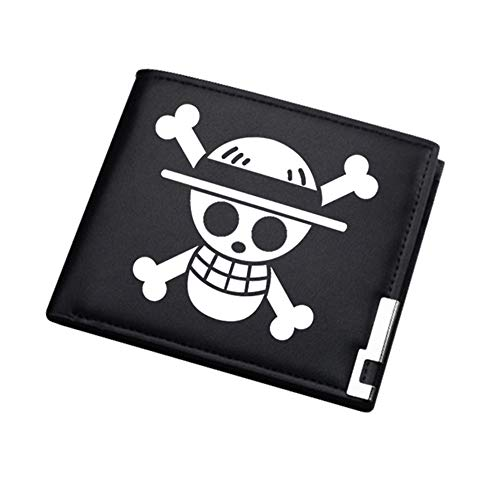 ASLNSONG Anime Slim Front Pocket Wallet Short Pattern PU Purse Wallet for Men Students 4.72in x 3.9in (One Piece)