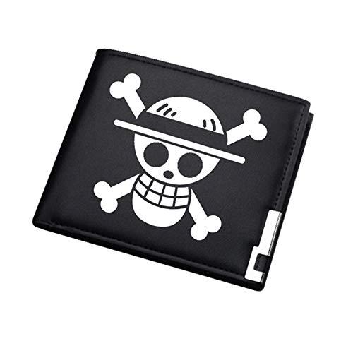 ASLNSONG Anime Slim Front Pocket Wallet Short Pattern PU Purse Wallet for Men Students (One Piece)