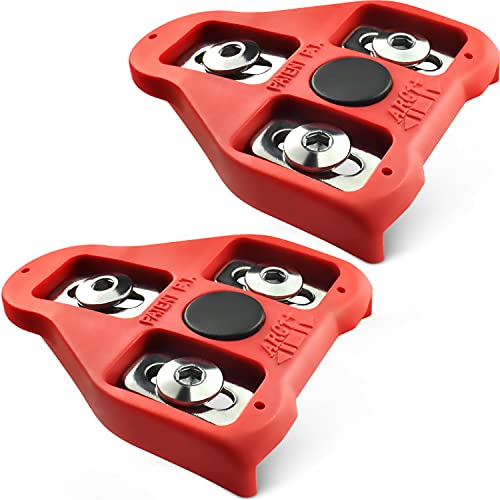 MARQUE Look Delta Compatible Cleats - 9 Degree Float Red Cleat Set for Peloton Indoor Cycling and Outdoor Road Cycling Designed for Women and Men Clipless Spinning and Cycle Shoes