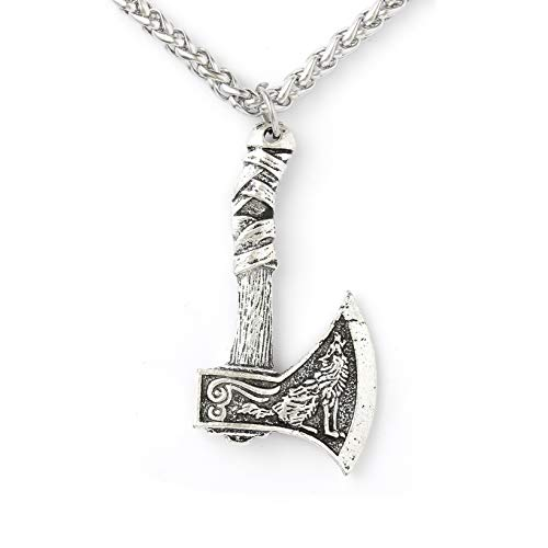 HAQUIL Viking Axe Necklace  Metal Alloy Wolf and Raven Axe Amulet Pendant  Stainless Steel Wheat Chain 197quot