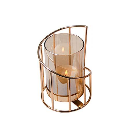 Portacandele Vintage Iron Metal Hollow Geometric Art Line Design Candeliere Candela Cup Decoration per La Festa di Nozze A Casa (S)