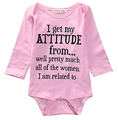 Newborn Infant Baby Boys Girl Romper Jumpsuit Bodysuit Outfits Clothes One Piece(0-6M,i get My Attitude from)