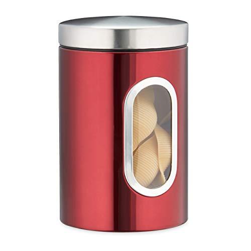 Relaxdays Vorratsdose, mit Deckel & Sichtfenster, 1,4 L, für Kaffee, Mehl, Pasta, Aufbewahrungsdose Küche, Metall, rot