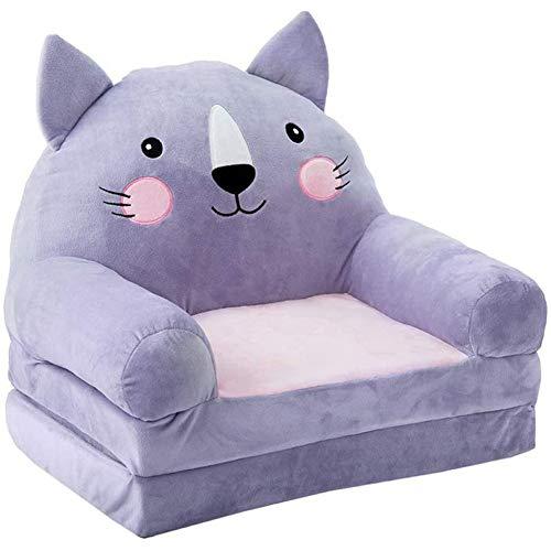 YUEHAPPY® Plüsch Faltbare Kindersofa Rückenlehnenstuhl Nette Cartoon Tier Süße Sitze Bohnenbeutel Sessel Für Spielzimmer Schlafzimmer (Katze)