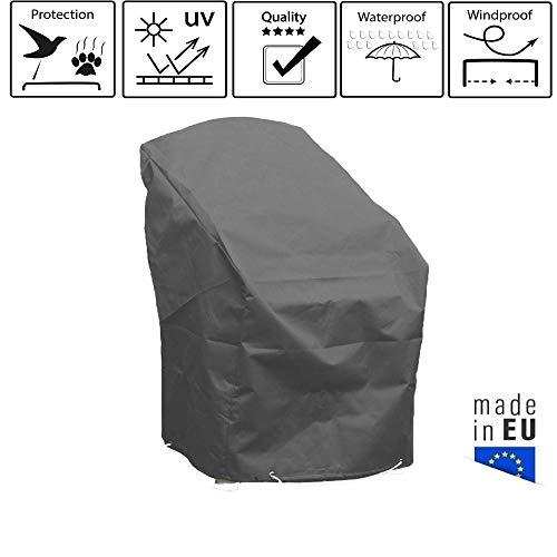 Onekover beschermhoes stapelstoelen, grijs, antraciet, L 70 x B 65 x H 70 cm, hoge kwaliteit, waterdicht, anti-UV, stofbescherming, gemaakt in Europa