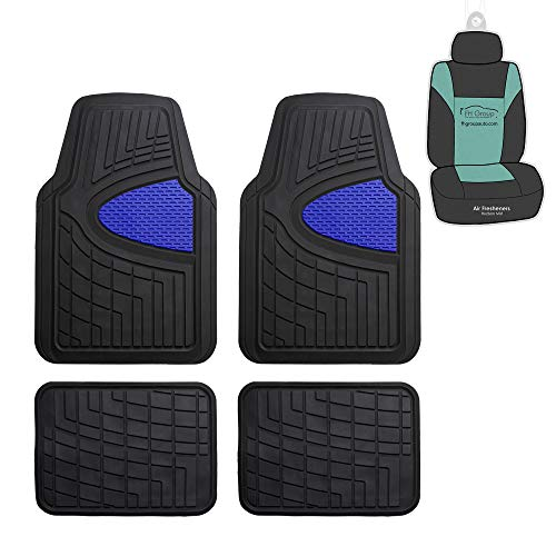 FH Group F11311 Premium Tall Trimmable Channel Rubber Floor Mats (Blue) Full Set...