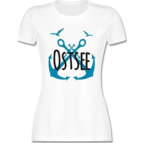 Statement - Ostsee - schwarz - M - Weiß - Möwe - L191 - Tailliertes Tshirt für Damen und Frauen T-Shirt