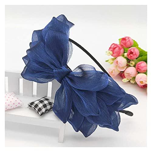 Banda para el Pelo de Las señoras Cinta Big Bow Floral Shining Hair Band Women Accesorios para el Cabello Hoop de Pelo Black Pink Girls Flow Lace Bow Headband (Color : Navy Blue)