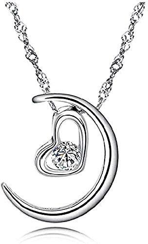 Yiffshunl Collar Moda Moda Collar de Plata la Luna representa mi corazón Colgante Colgante de Plata Pura Colgante corazón en Forma de corazón