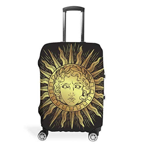 Religion Sun Black Suitcase Protector Durable Washable Fits 18-32 Inch for Wheeled Suitcase Over Softsided White m(22-24 inch)
