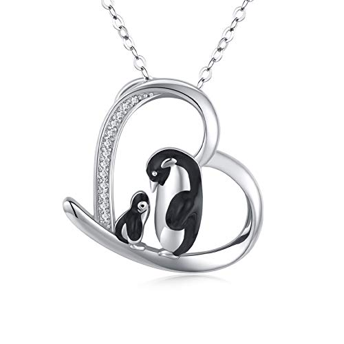JUSTKIDSTOY Penguin Necklace for Women 925 Sterling Silver Mother Child Family Necklace Heart Pendant Cute Animal Penguin Jewelry Gift for Mom Daughter Loved Ones
