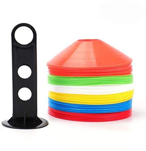Tebery Conos marcadores 60 Unidades Incluye Soporte y Funda Juego de Amarillo, Azul, Naranja, Blanco, Rojo