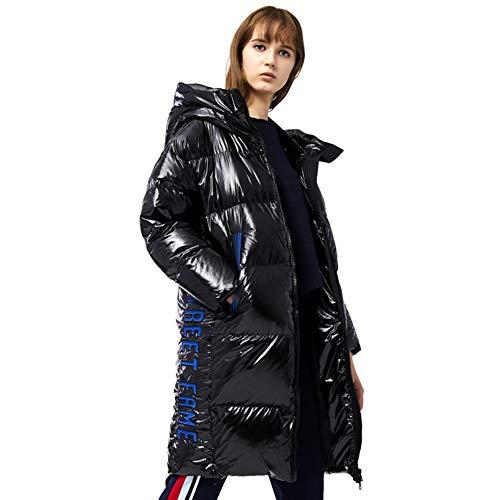 DKzyy winterjas vrouw mode glanzend donsjack vrouwelijk losse lange broodjesservice verdikken super warm met capuchon donsmantel (zwart)