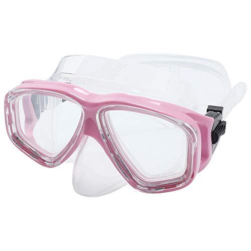TLOG Scuba Mask Full Face Snorkel Mask Diving Mask Snorkeling Mask Diving Goggles Silicone Swimming Glasses Scuba Free Diving Anti-Leak Anti-Fog Neoprene Strap Cover Impact Resistance (Pink)