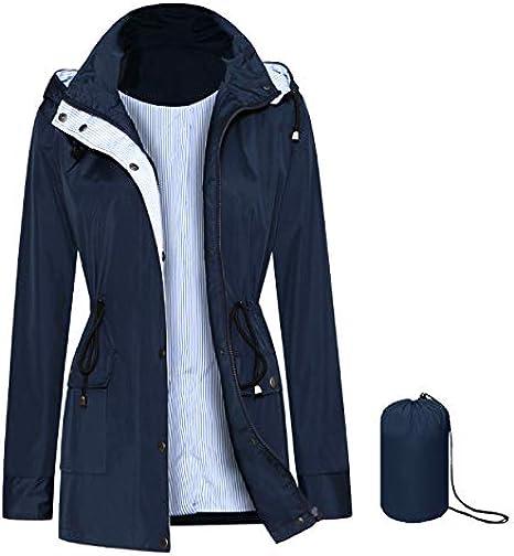 SOMIDE Women Rain Jacket Lightweight Breathable Raincoats Waterproof Active Outdoor Hooded Trench Coats