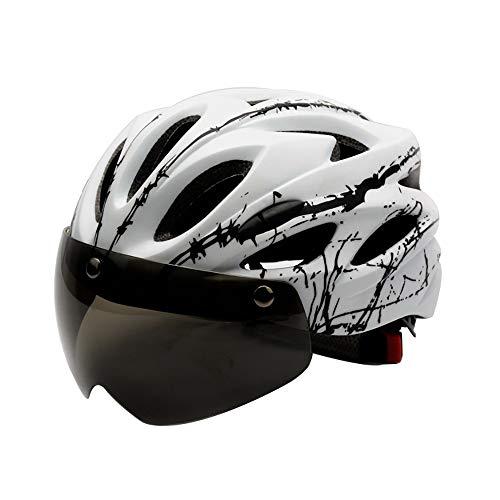 QYLJX Casco de Bicicleta, Casco de Bicicleta para Hombres Mujeres, con Visera de Gafas MagnéTica Desmontable, Cascos de Bicicleta Mountain Road Cascos de Ciclismo para Adultos Ajustables