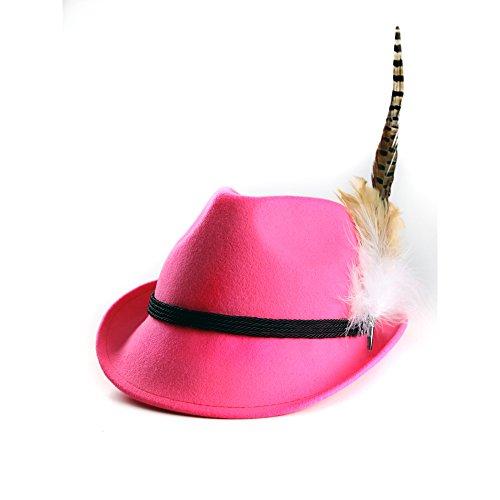 ALMBOCK Trachtenhut Damen mit Feder - Trachtenhüte in vielen Farben und den Größen S M L - Trachten Hut hergestellt aus Woll-Filz (L (58cm), Pink - Modell H9)
