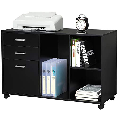 Itaar 39 inches File Cabinets for Home Office with Drawer, Wood Mobile Lateral Filing Cabinet on Wheels Printer Stand and Open Storage Shelves, Black