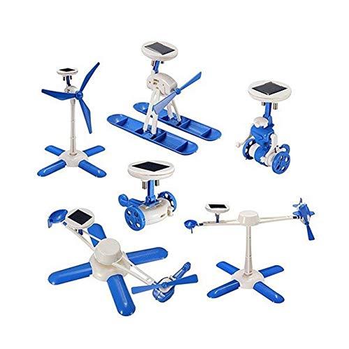6 in 1 Kit Robot ad energia Solare per Bambini Giocattolo Fai da Te per Bambini Regalo di Compleanno Giocattoli educativi solari Modello di Ventilatore per Auto per Barche (Bianco e Blu) JBP-X