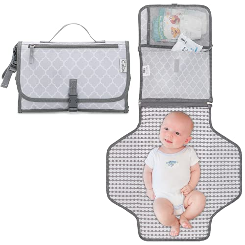 Baby Portable Changing Pad, Diaper Bag, Travel Mat Station Grey Large