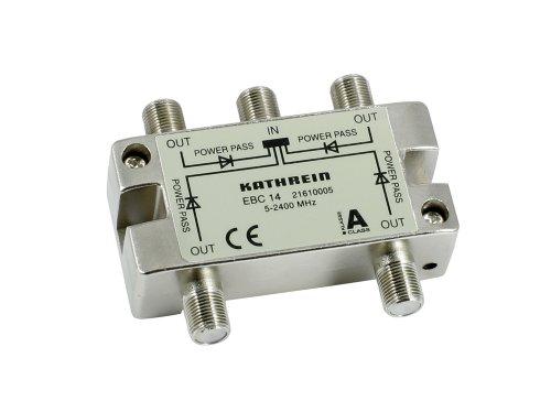 Kathrein EBC 14 4-fach-Verteiler (F-Anschluss, 5-2400 MHz, Rückweg- und UHF-tauglich, Fernspeisetauglich, Sat, TV, Kabel)