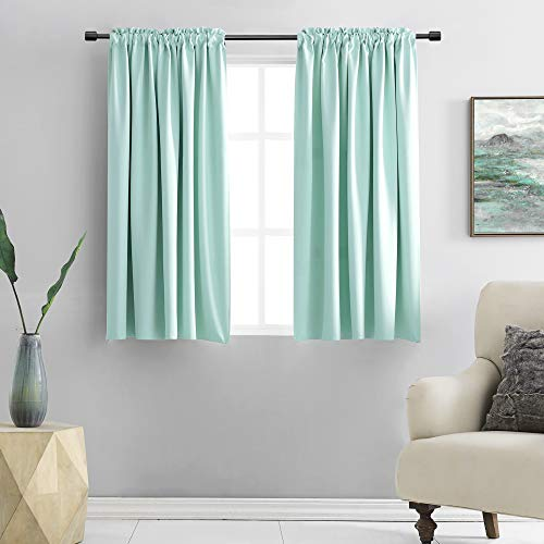 DONREN 54 Inch Length Aqua Blackout Curtains for Bedroom - Small Window Treatment Rod Pocket Curtain Drapes ( Set of 2 Panels)