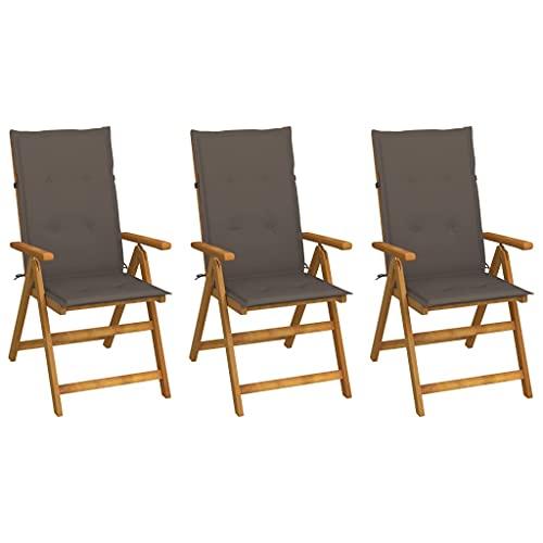 vidaXL 3X Akazienholz Massiv Gartenstuhl Klappbar mit Auflagen Klappstuhl Hochlehner Stuhl Stühle Holzstuhl Gartenstühle Gartensessel