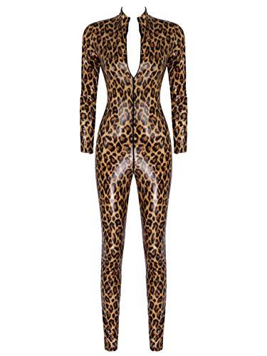 iEFiEL Damen Wetlook Jumpsuit mit Reißverschluss Leder-Look Body Catsuit glänzend Overall Dessous Ouvert-Leggings Clubwear Braun M