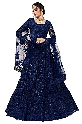 Nir Fashion Women's Net Embroidered Semi-Stitched Lehenga Choli