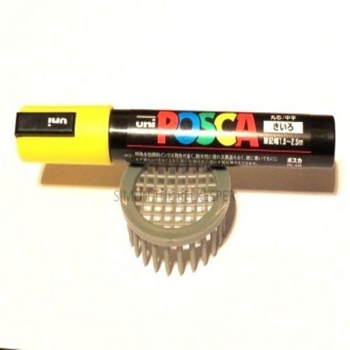 Marqueur gris pour apiculteurs de type cage avec marqueur jaune