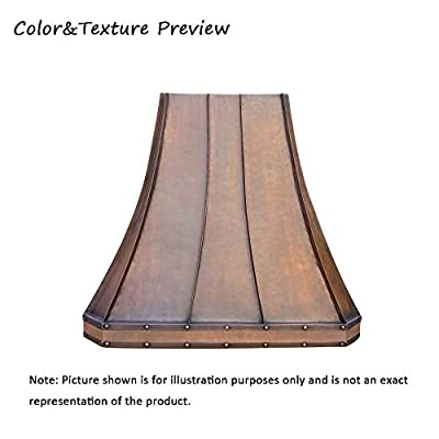 """SINDA Copper Oven Hood Cover with High CFM Commercial Grade Range Hood Insert, Inlcudes Fan Motor, Blower Box, Baffle Filter and Lighting, H3STR3SCW3639, 36""""Wx39""""H, Wall Mount"""